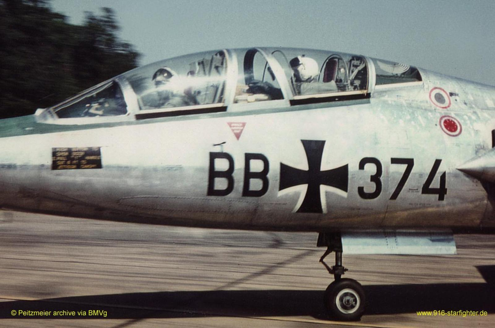 F-104F BB+374 Waffenschule der Luftwaffe 10 (WaSLw 10) at Norvenich AB  F-104F, construction number 283-5061, model 483-04-08, US serial number  59-5008, ...