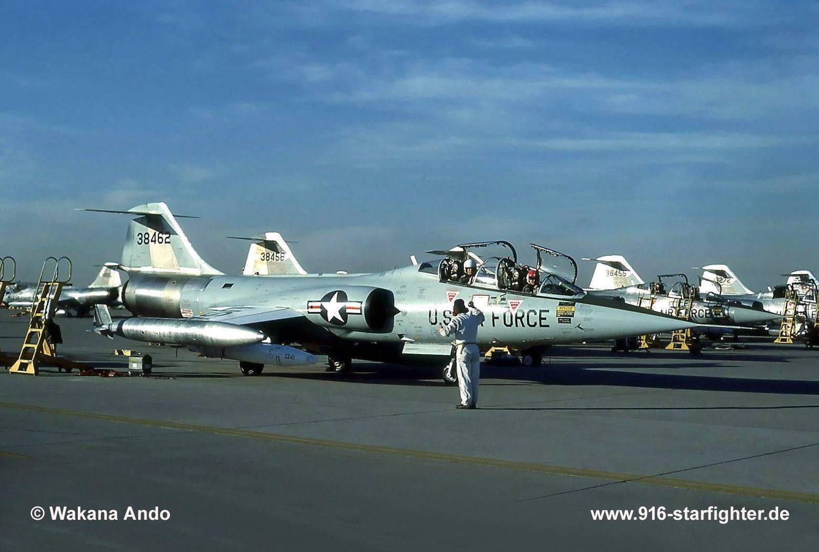 """TF-104G """"38462"""" (63-8462) ready to roll in November 1982 TF-104G,  construction number 583D-5766, model 583-10-20, US serial number 63-8462,  ..."""